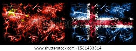 China, Chinese vs Iceland, Icelandic New Year celebration travel sparkling fireworks flags concept background. Combination of two abstract states flags.