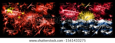 China, Chinese vs Kiribati New Year celebration travel sparkling fireworks flags concept background. Combination of two abstract states flags.
