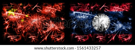 China, Chinese vs Laos New Year celebration travel sparkling fireworks flags concept background. Combination of two abstract states flags.