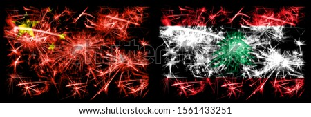 China, Chinese vs Lebanon, Lebanese New Year celebration travel sparkling fireworks flags concept background. Combination of two abstract states flags.