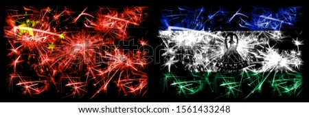 China, Chinese vs Lesotho New Year celebration travel sparkling fireworks flags concept background. Combination of two abstract states flags.