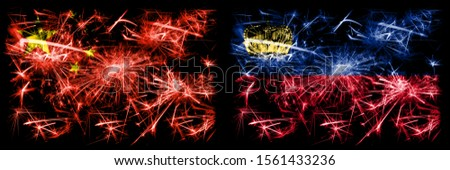 China, Chinese vs Liechtenstein, Liechtensteins New Year celebration travel sparkling fireworks flags concept background. Combination of two abstract states flags.