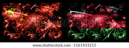 China, Chinese vs Malawi, Malawian New Year celebration travel sparkling fireworks flags concept background. Combination of two abstract states flags.