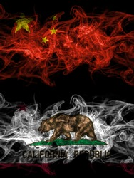 China, Chinese vs United States of America, America, US, USA, American, California, Californian smoky mystic flags placed side by side. Thick colored silky abstract smoke flags.