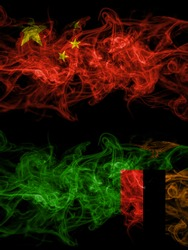 China, Chinese vs Zambia, Zambian smoky mystic flags placed side by side. Thick colored silky abstract smoke flags.