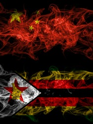 China, Chinese vs Zimbabwe, Zimbabwean, Zimbo smoky mystic flags placed side by side. Thick colored silky abstract smoke flags.