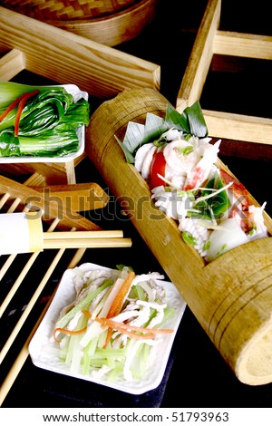 china delicious food-- seafood fried rice in bamboo tube