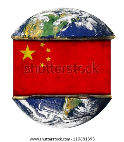 China earth globe flag. Elements of this image furnished by NASA.