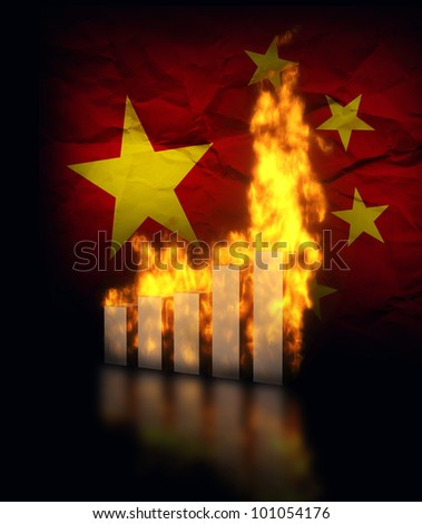 China economy crisis, burning graph charts against the chinese flag