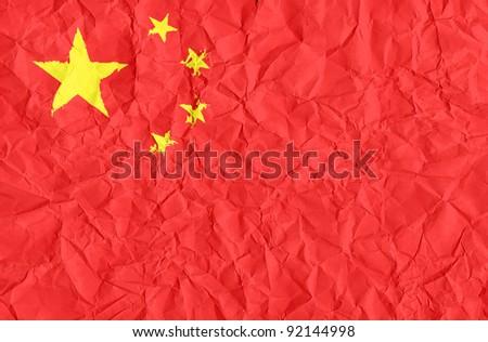 china grunge flag on wrinkled paper background