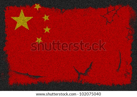 China grunge scratched flag a black asphalt