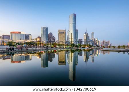 China Guangzhou City Plaza, built-up city center. #1042980619