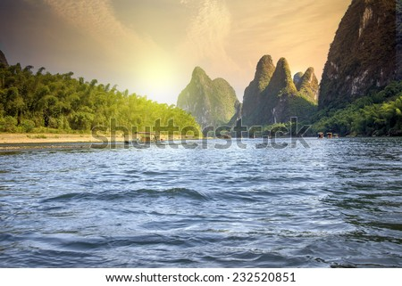 China Guilin Lijiang River rafting, beautiful river.
