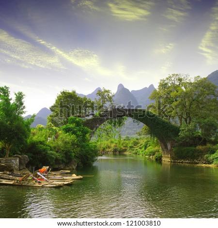 china guilin yangshuo bridge...