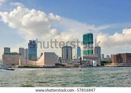 China, Hong Kong Kowloon waterfront buildings