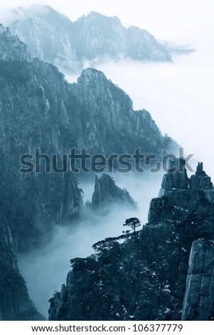 China Huangshan snow - stock photo