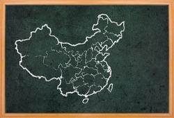 China map and flag draw on grunge blackboard