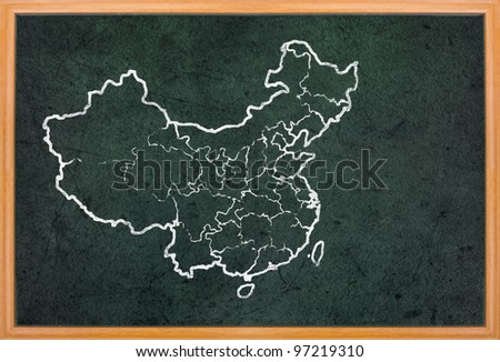 China map and flag draw on grunge blackboard
