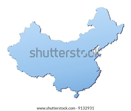 China map filled with light blue gradient. High resolution. Mercator projection.
