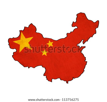 China map on China flag drawing ,grunge and retro flag series