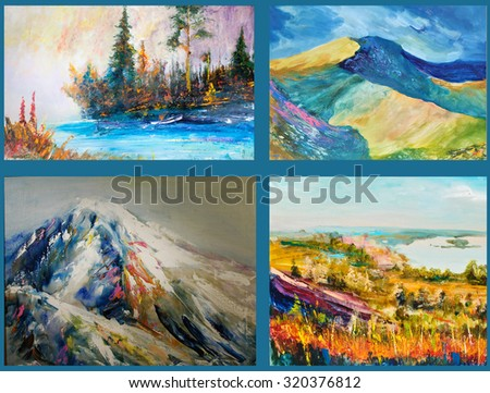 China Mountains, Pa mir, Ti en Sh an, Tibet, Altai Himalaya, Chinese landscape. Painting, pictorial art Imagine de stoc ©