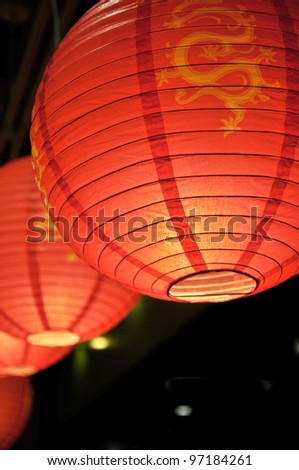 China New Year ,Lanterns are hanging at the parks,windows,buildings and other famous scenic spots. - stock photo