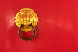 China red door with steel door knocker, this have space for text