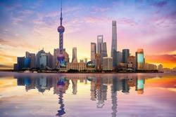 China Shanghai city skyline at dusk, Shanghai China