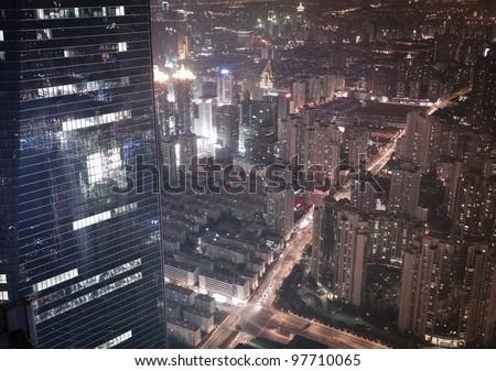 China Shanghai Lujiazui night panorama