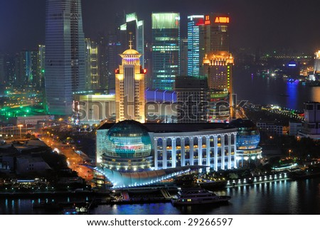 China Shanghai  Pudong buildings aerial night view.