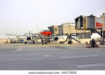 China, Shanghai Pudong international airport, airplane docking