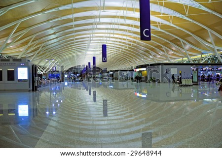 China, Shanghai Pudong international airport hall night view