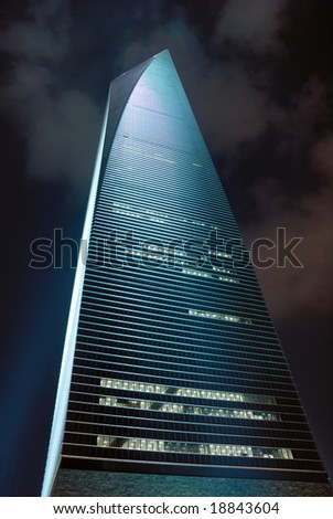 China Shanghai Pudong night view of the Shanghai world financial center building