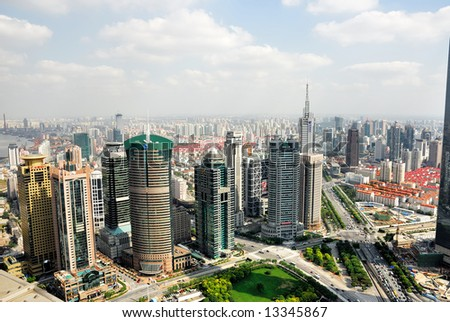 China Shanghai  Pudong skyline