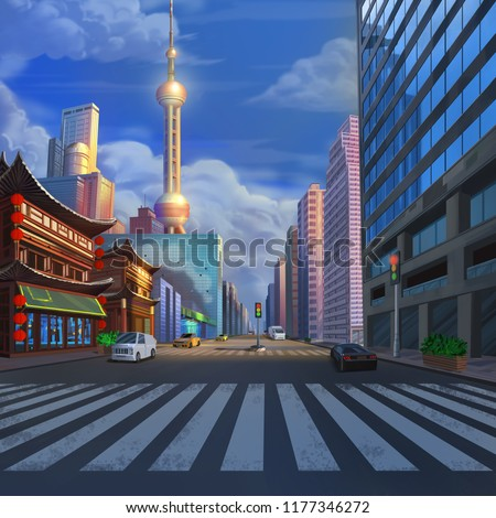 China ShangHai Street Realistic Country City Area Painting Series. Video Game's Digital CG Artwork, Concept Illustration, Realistic Cartoon Style Scene Design