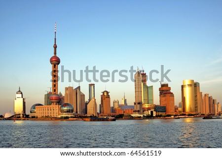 China Shanghai the huangpu river and Pudong skyline at sunset.