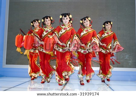 CHINA, SHENZHEN - MAY 18: Dancers from Shanxi province in colorful costumes at China Cultural Industries Fair May 18, 2009 in Shenzhen, China.
