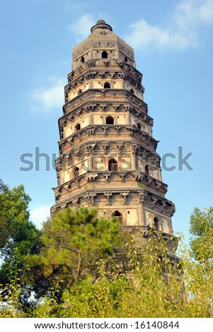 China Suzhou Yunyan leaning pagoda in Tiger Hill