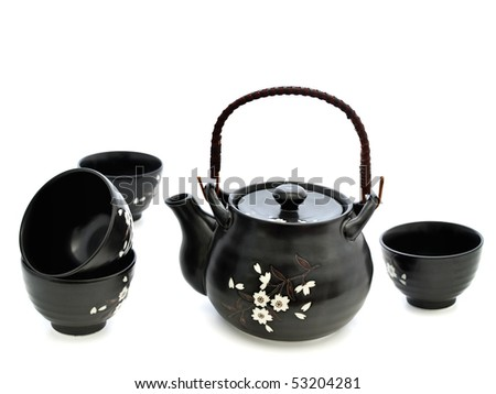 china tableware for chinese tea ceremony over white background