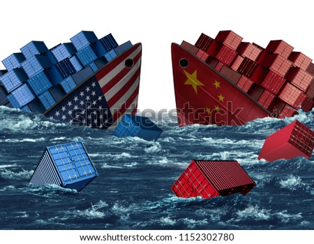 China United States trade trouble and economic war or American tariffs and Chinese tariff as two sinking cargo ships as a taxation dispute over import and exports with 3D illustration elements.
