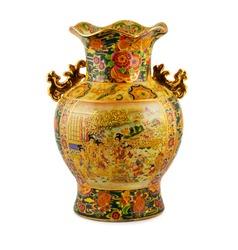 China vase gold on the white background