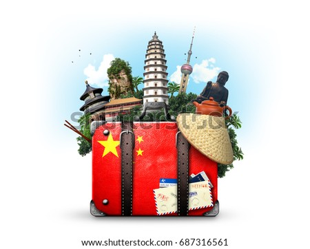 china  vintage suitcase with...