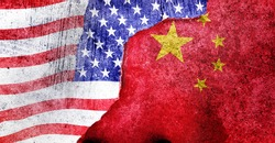 CHINA vs  US background concept, Flags of usa or United States of America and China on old cracked concrete background