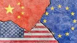 China vs USA vs EU national flags icon grunge pattern isolated on broken weathered wall with cracks background, abstract China US Europe political relationship divided conflicts texture wallpaper