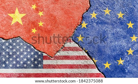 China VS USA VS EU national flags icon on broken weathered concrete wall with cracks, abstract international political economic relationship divided conflicts pattern texture background wallpaper