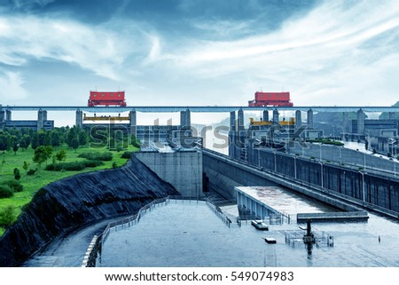 China Yangtze River Three Gorges Dam in the rain. #549074983