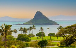Chinaman's Hat island off the east coast of Oahu, Hawaii