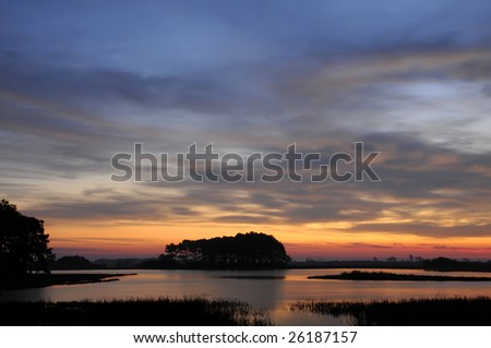Chincoteague Virginia Sunrise Horizontal with Copy Space