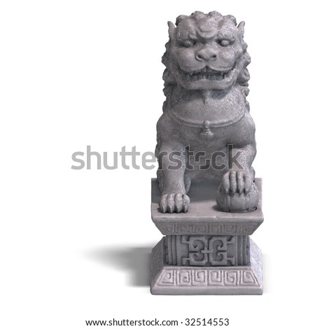 chines fu dog made out of stone. 3D Render with Clipping Path and shadow over white