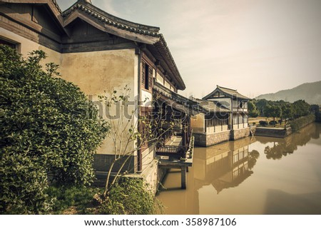 Chinese ancient architecture river #358987106
